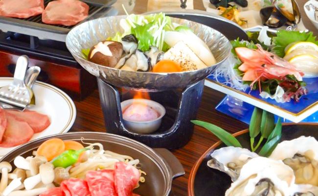 松島産焼きカキと仙台牛陶板焼き